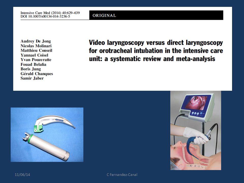 Contexte Réanimation: Augmentation intubation difficile (ID) et complications Video laryngoscopes (VL): améliore le management des VAS + diminue incidence ID 11/06/14C Fernandez-Canal