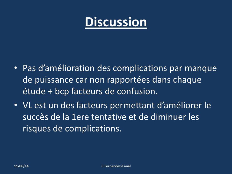 Discussion Pas d'amélioration des complications par manque de puissance car non rapportées dans chaque étude + bcp facteurs de confusion. VL est un de