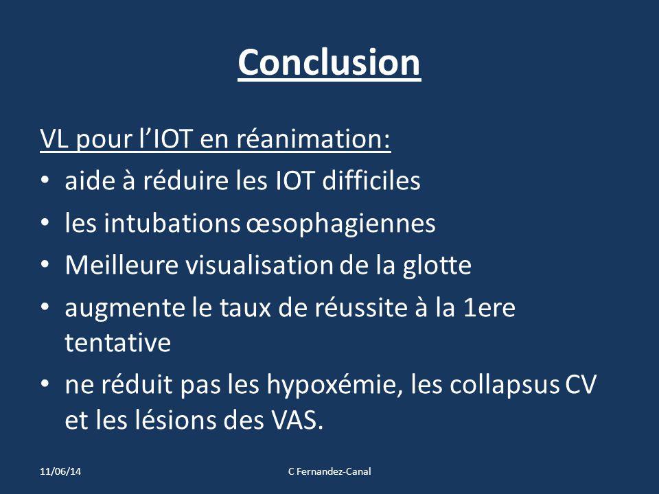 Conclusion VL pour l'IOT en réanimation: aide à réduire les IOT difficiles les intubations œsophagiennes Meilleure visualisation de la glotte augmente le taux de réussite à la 1ere tentative ne réduit pas les hypoxémie, les collapsus CV et les lésions des VAS.