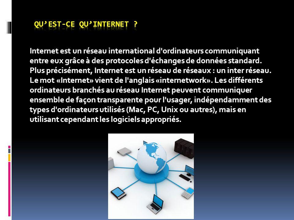 Internet est un réseau international d'ordinateurs communiquant entre eux grâce à des protocoles d'échanges de données standard. Plus précisément, Int