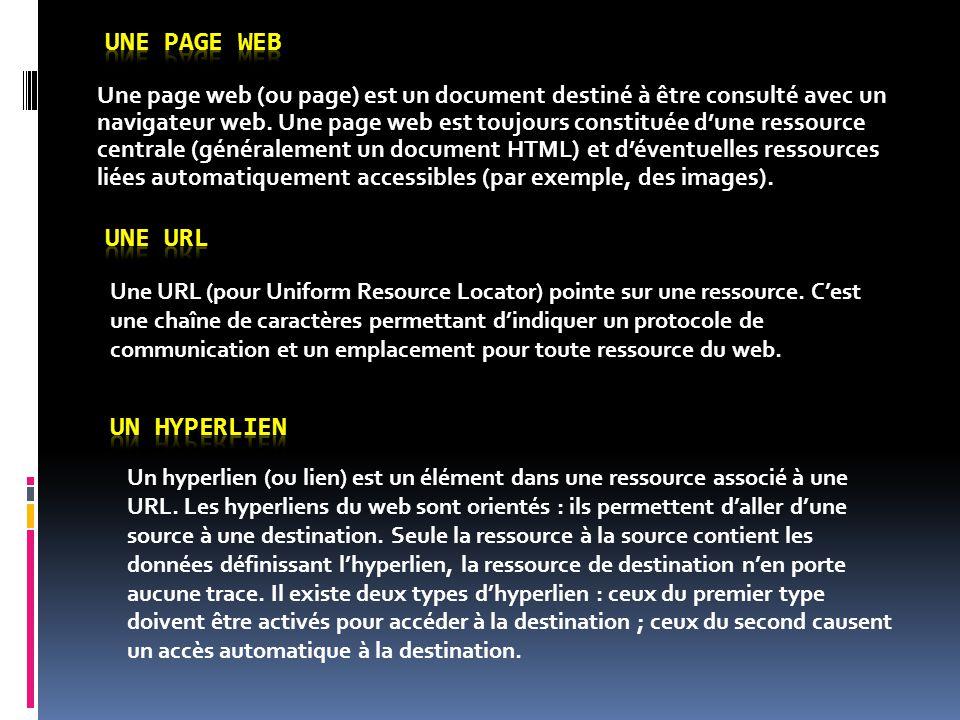 Une page web (ou page) est un document destiné à être consulté avec un navigateur web. Une page web est toujours constituée d'une ressource centrale (