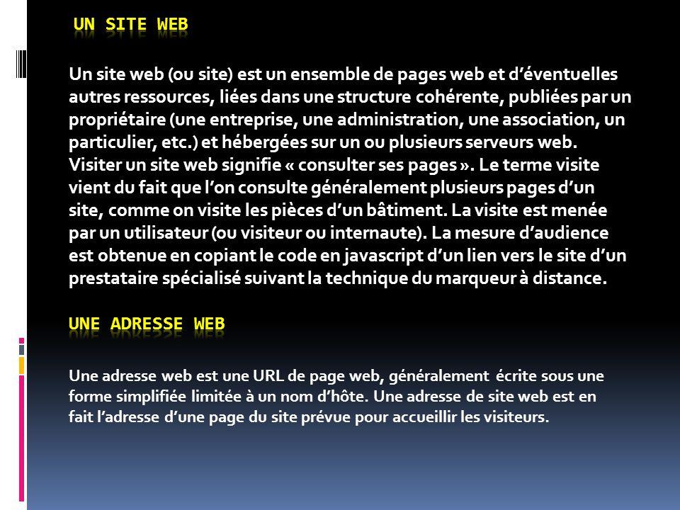 Un site web (ou site) est un ensemble de pages web et d'éventuelles autres ressources, liées dans une structure cohérente, publiées par un propriétair