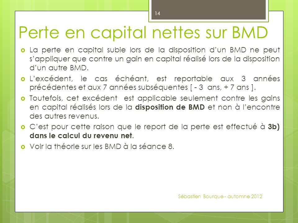 Perte en capital nettes sur BMD  La perte en capital subie lors de la disposition d'un BMD ne peut s'appliquer que contre un gain en capital réalisé lors de la disposition d'un autre BMD.