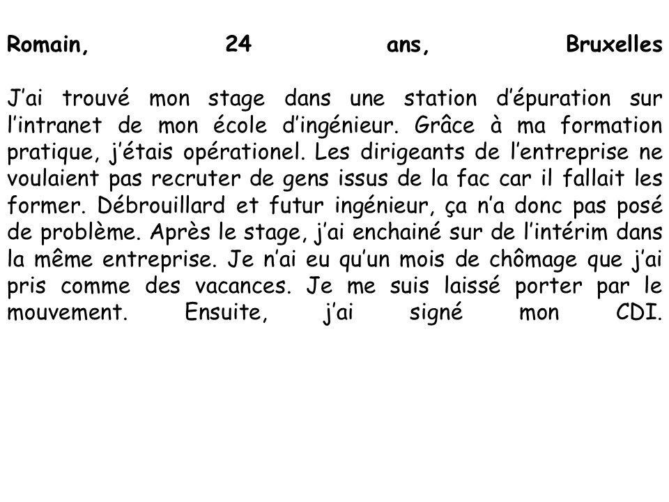 Romain, 24 ans, Bruxelles J'ai trouvé mon stage dans une station d'épuration sur l'intranet de mon école d'ingénieur. Grâce à ma formation pratique, j