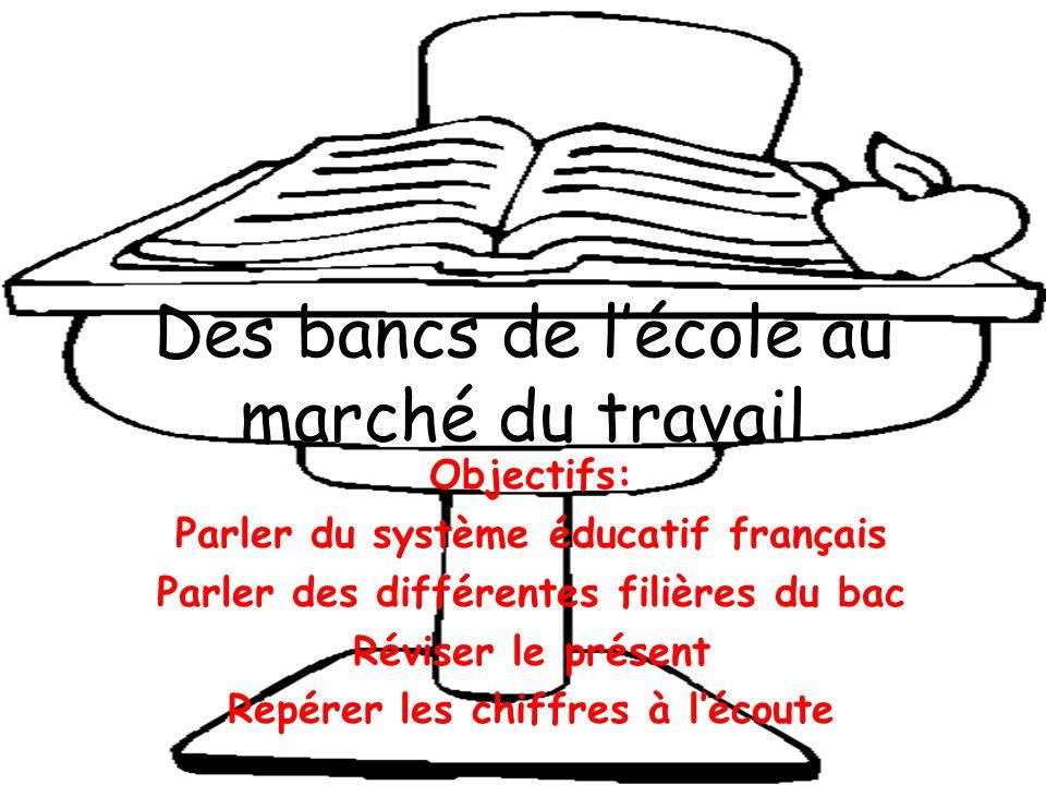 Des bancs de l'école au marché du travail Objectifs: Parler du système éducatif français Parler des différentes filières du bac Réviser le présent Repérer les chiffres à l'écoute