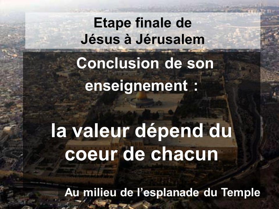 Etape finale de Jésus à Jérusalem Conclusion de son enseignement : la valeur dépend du coeur de chacun Au milieu de l'esplanade du Temple