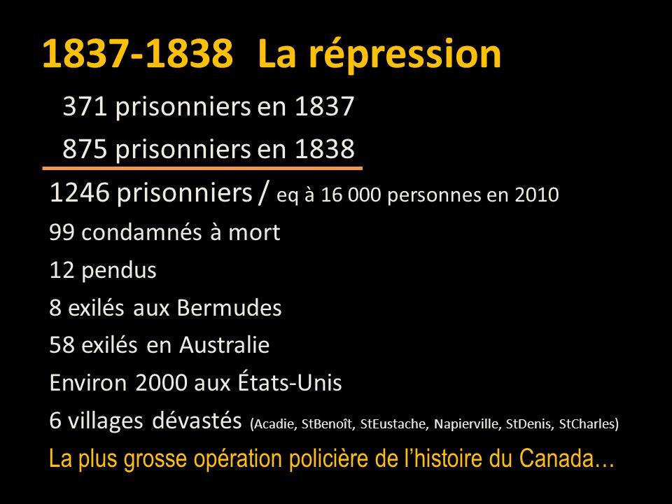 1837-1838 La répression 371 prisonniers en 1837 875 prisonniers en 1838 1246 prisonniers / eq à 16 000 personnes en 2010 99 condamnés à mort 12 pendus 8 exilés aux Bermudes 58 exilés en Australie Environ 2000 aux États-Unis 6 villages dévastés (Acadie, StBenoît, StEustache, Napierville, StDenis, StCharles) La plus grosse opération policière de l'histoire du Canada…