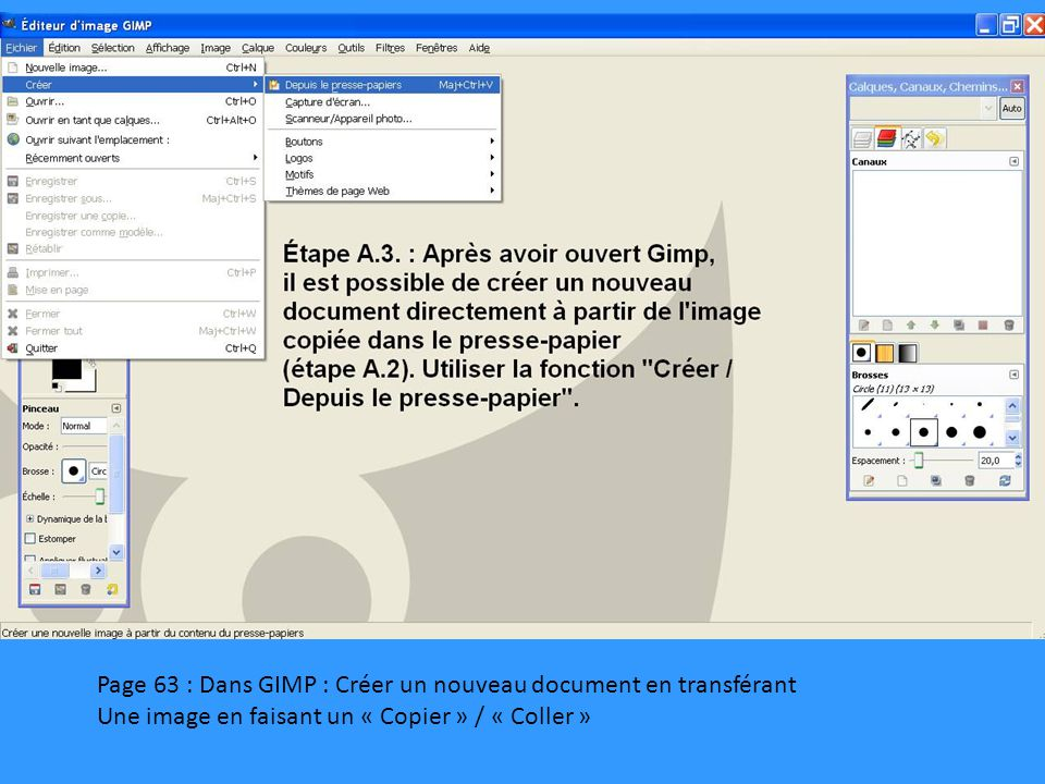 Page 63 : Dans GIMP : Créer un nouveau document en transférant Une image en faisant un « Copier » / « Coller »