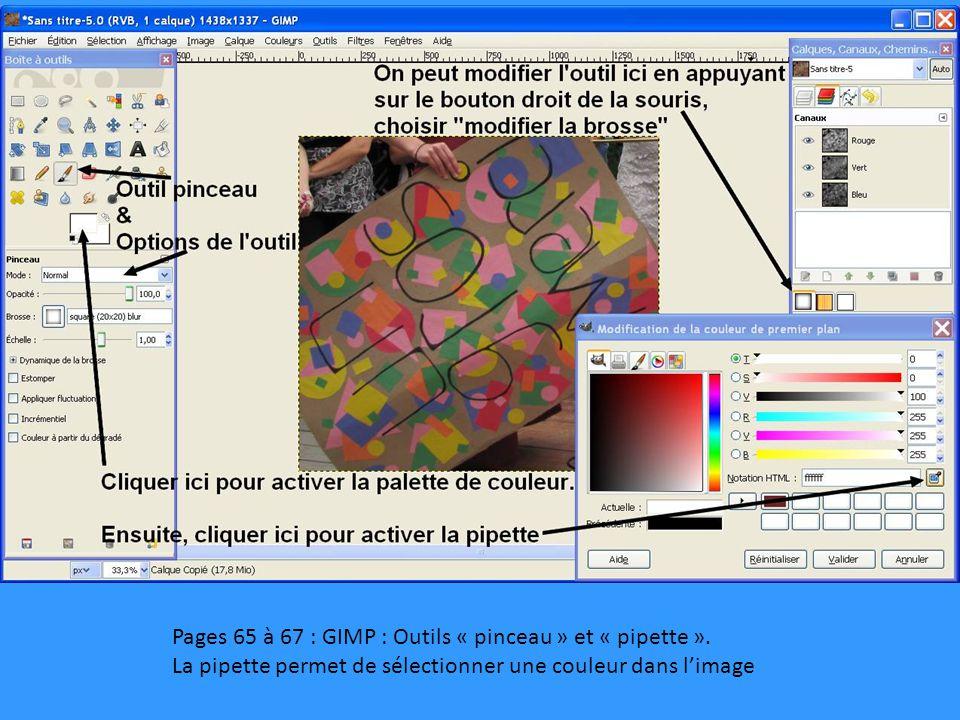 Pages 65 à 67 : GIMP : Outils « pinceau » et « pipette ». La pipette permet de sélectionner une couleur dans l'image