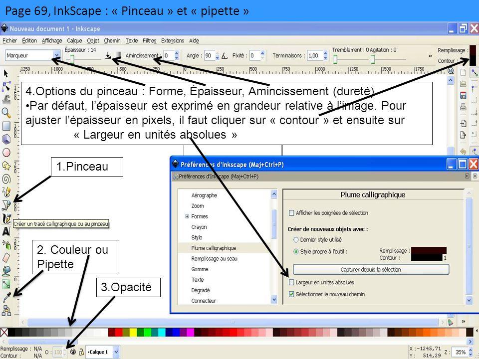 Page 69, InkScape : « Pinceau » et « pipette » 1.Pinceau 2. Couleur ou Pipette 3.Opacité 4.Options du pinceau : Forme, Épaisseur, Amincissement (duret