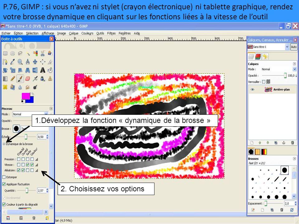 P.76, GIMP : si vous n'avez ni stylet (crayon électronique) ni tablette graphique, rendez votre brosse dynamique en cliquant sur les fonctions liées à