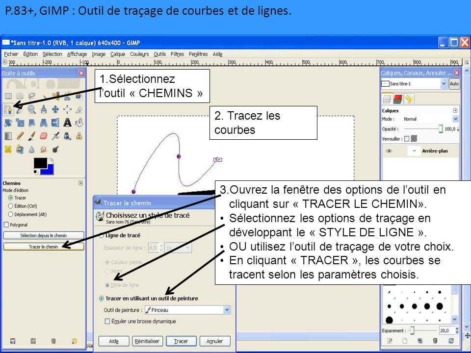 P.83+, GIMP : Outil de traçage de courbes et de lignes. 1.Sélectionnez l'outil « CHEMINS » 3.Ouvrez la fenêtre des options de l'outil en cliquant sur