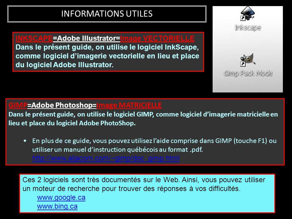 INFORMATIONS UTILES GIMP=Adobe Photoshop=Image MATRICIELLE Dans le présent guide, on utilise le logiciel GIMP, comme logiciel d'imagerie matricielle e