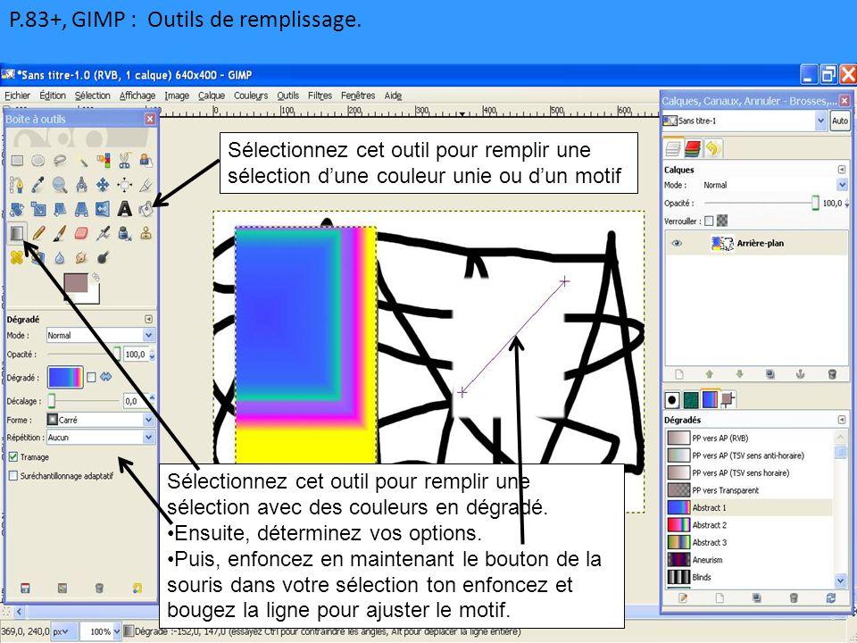 P.83+, GIMP : Outils de remplissage. Sélectionnez cet outil pour remplir une sélection d'une couleur unie ou d'un motif Sélectionnez cet outil pour re