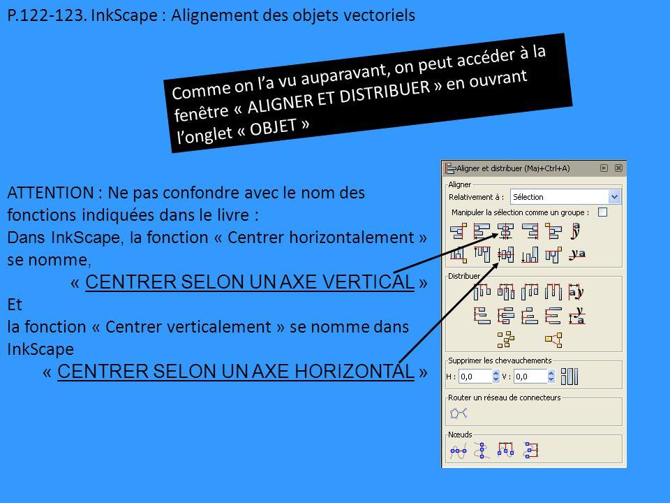 P.122-123. InkScape : Alignement des objets vectoriels Comme on l'a vu auparavant, on peut accéder à la fenêtre « ALIGNER ET DISTRIBUER » en ouvrant l