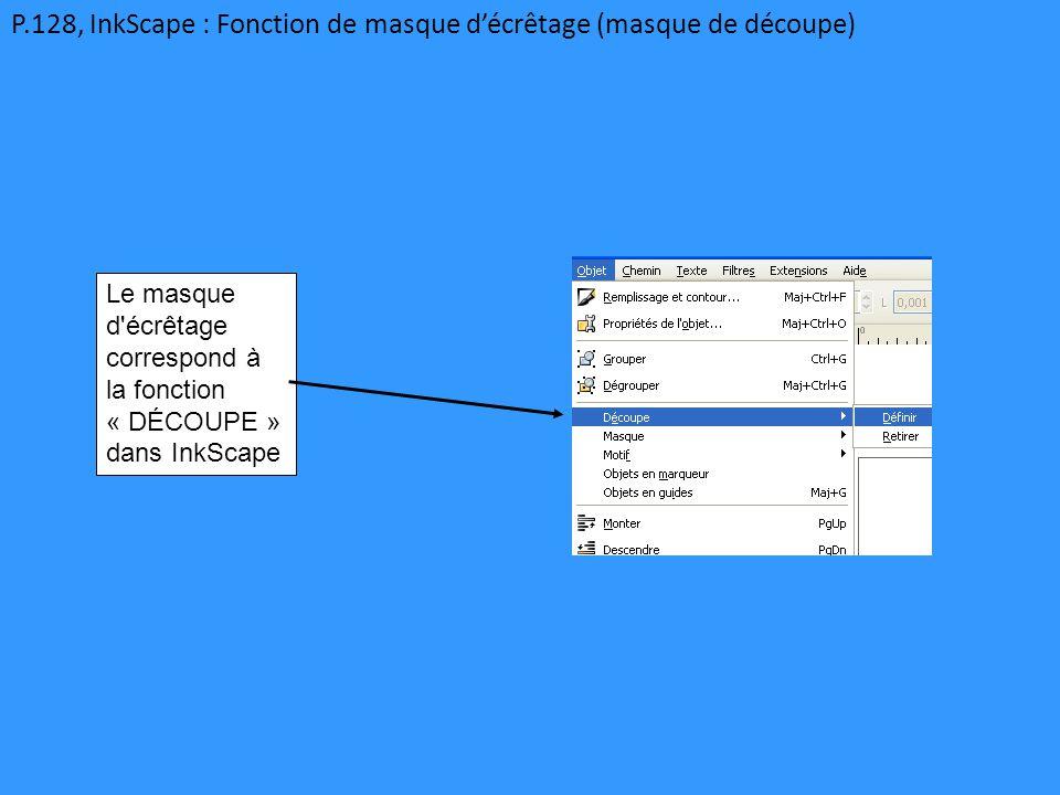 P.128, InkScape : Fonction de masque d'écrêtage (masque de découpe) Le masque d'écrêtage correspond à la fonction « DÉCOUPE » dans InkScape