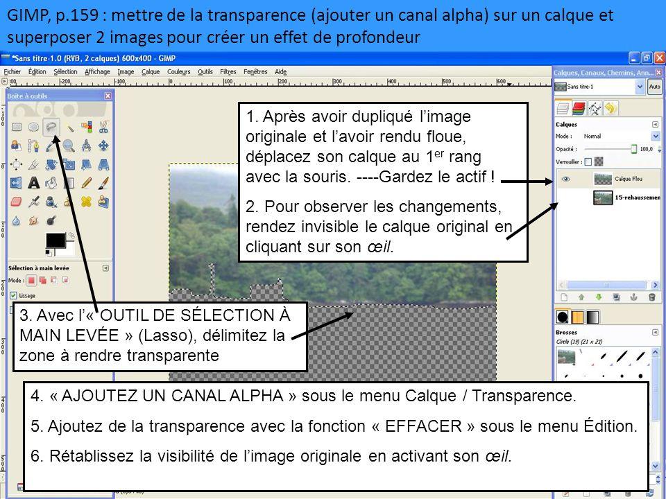 GIMP, p.159 : mettre de la transparence (ajouter un canal alpha) sur un calque et superposer 2 images pour créer un effet de profondeur 1. Après avoir
