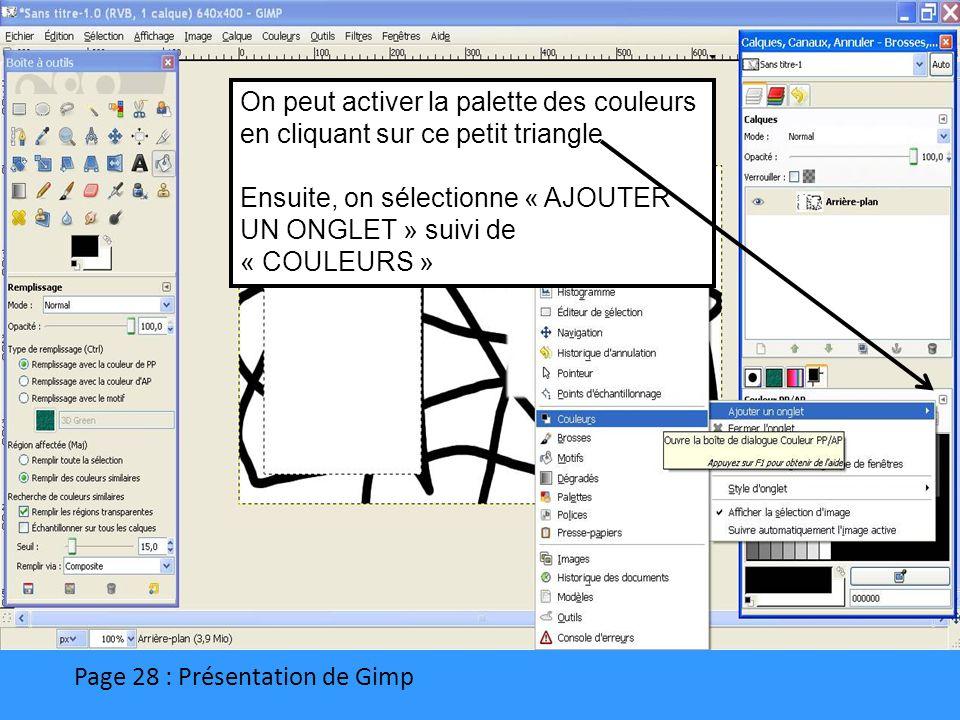 Page 28 : Présentation de Gimp On peut activer la palette des couleurs en cliquant sur ce petit triangle Ensuite, on sélectionne « AJOUTER UN ONGLET »