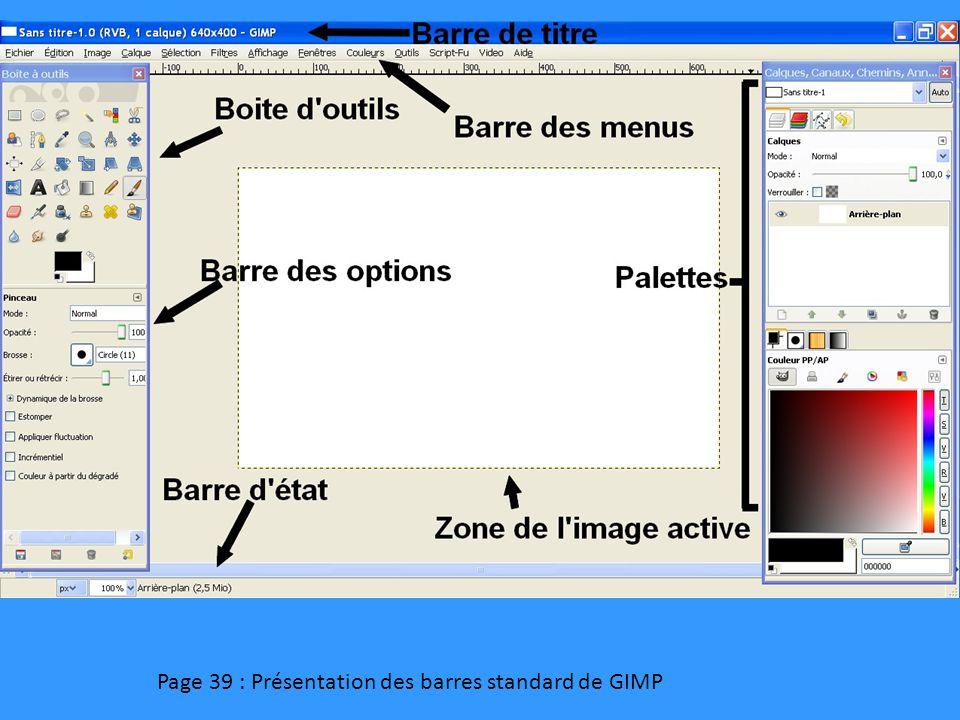 Page 39 : Présentation des barres standard de GIMP