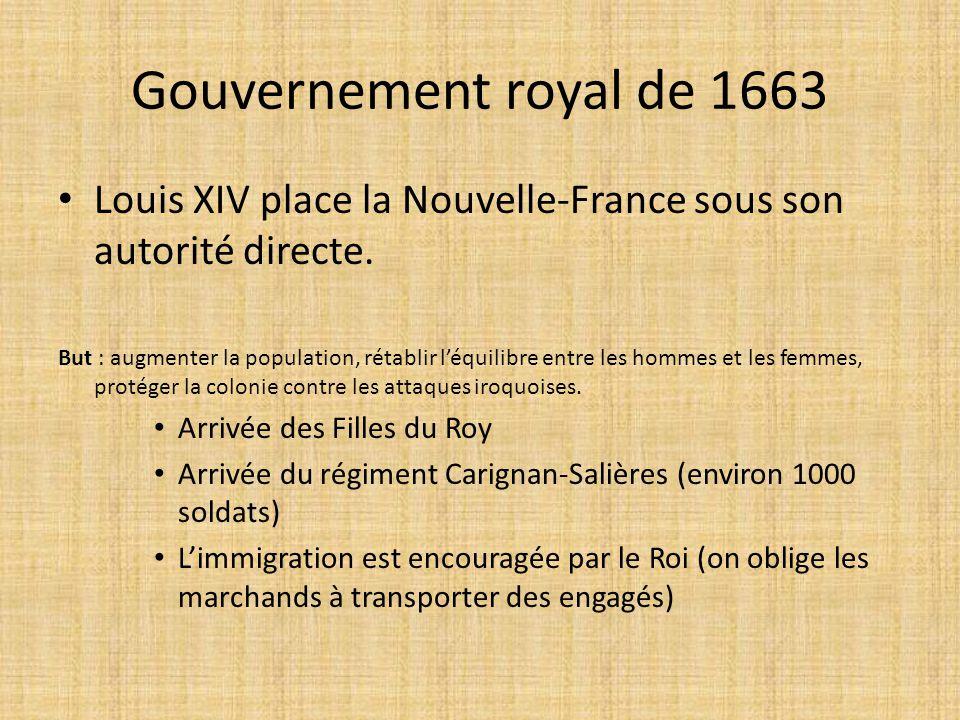 Gouvernement royal de 1663 Louis XIV place la Nouvelle-France sous son autorité directe. But : augmenter la population, rétablir l'équilibre entre les