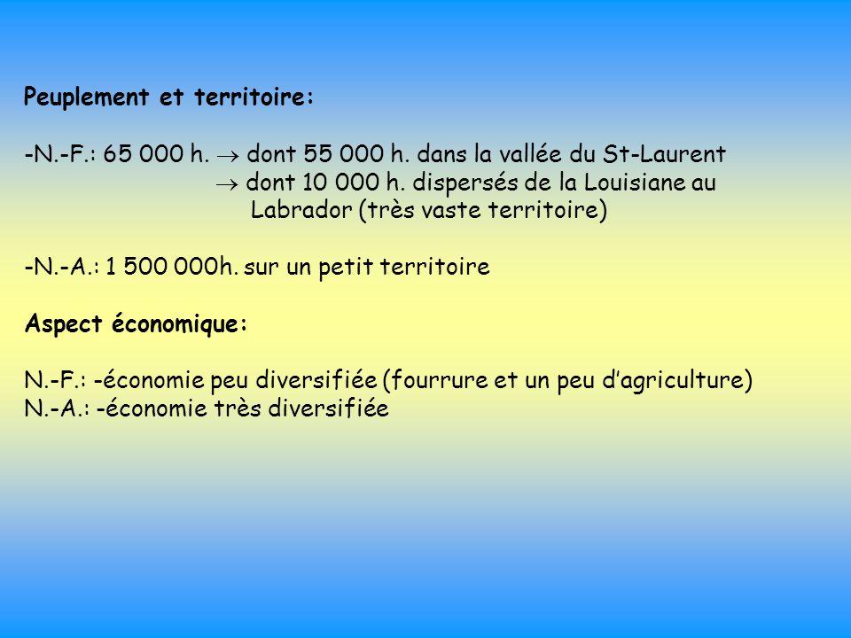 Peuplement et territoire: -N.-F.: 65 000 h.  dont 55 000 h. dans la vallée du St-Laurent  dont 10 000 h. dispersés de la Louisiane au Labrador (très