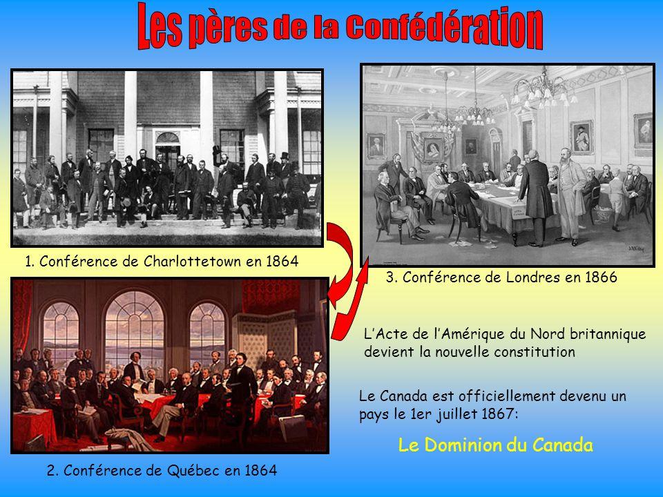 1. Conférence de Charlottetown en 1864 2. Conférence de Québec en 1864 3. Conférence de Londres en 1866 L'Acte de l'Amérique du Nord britannique devie