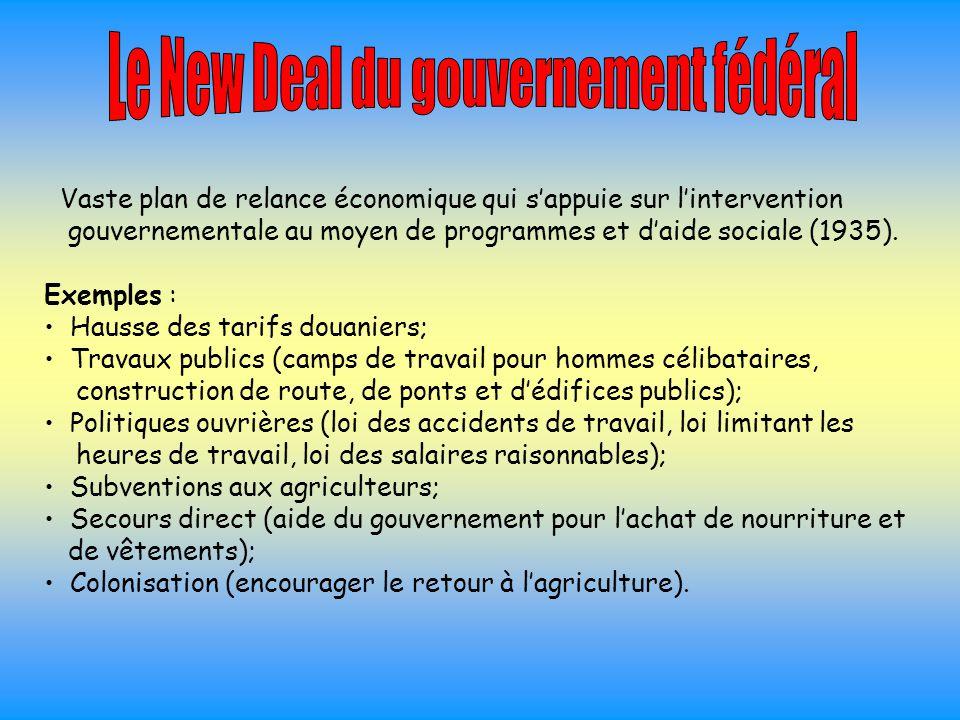 Vaste plan de relance économique qui s'appuie sur l'intervention gouvernementale au moyen de programmes et d'aide sociale (1935). Exemples : Hausse de