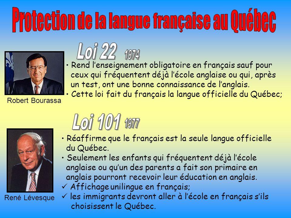 Rend l'enseignement obligatoire en français sauf pour ceux qui fréquentent déjà l'école anglaise ou qui, après un test, ont une bonne connaissance de