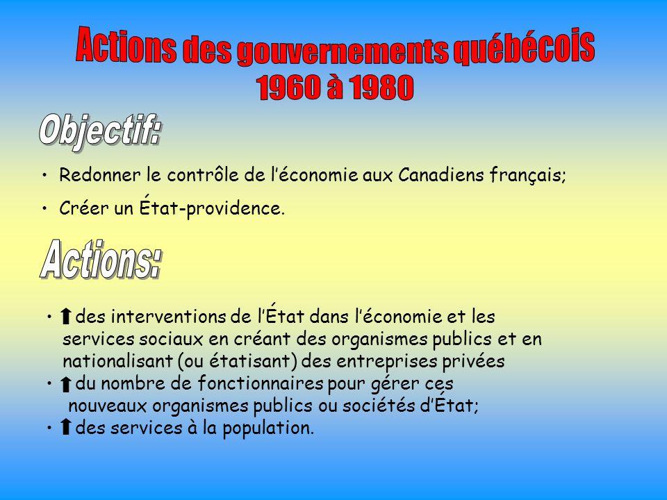 Redonner le contrôle de l'économie aux Canadiens français; Créer un État-providence. des interventions de l'État dans l'économie et les services socia