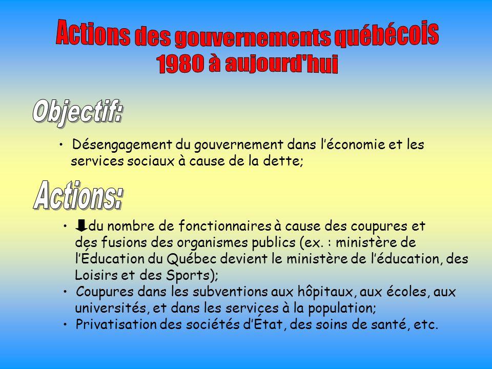 du nombre de fonctionnaires à cause des coupures et des fusions des organismes publics (ex. : ministère de l'Éducation du Québec devient le ministère