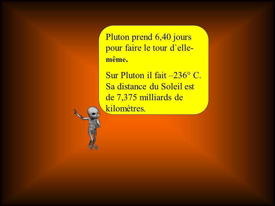 Pluton prend 6,40 jours pour faire le tour d`elle- même.