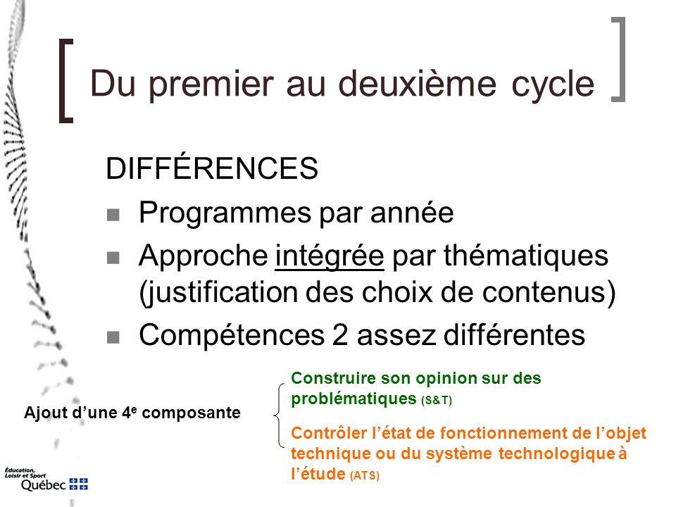 Du premier au deuxième cycle DIFFÉRENCES Programmes par année Approche intégrée par thématiques (justification des choix de contenus) Compétences 2 as
