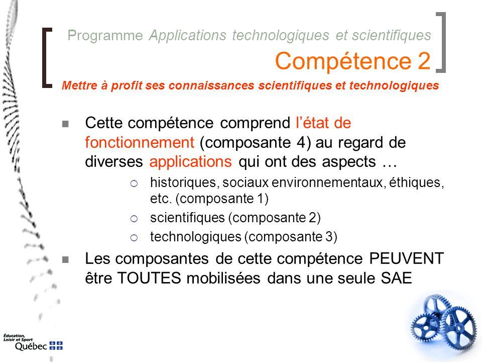 Programme Applications technologiques et scientifiques Compétence 2 Cette compétence comprend l'état de fonctionnement (composante 4) au regard de div