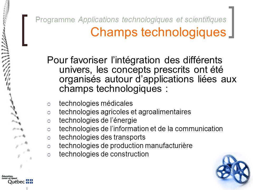 Programme Applications technologiques et scientifiques Champs technologiques Pour favoriser l'intégration des différents univers, les concepts prescri