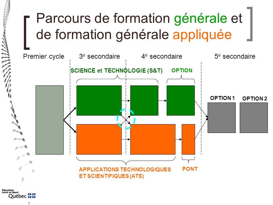 Parcours de formation générale et de formation générale appliquée Premier cycle3 e secondaire4 e secondaire5 e secondaire SCIENCE et TECHNOLOGIE (S&T)