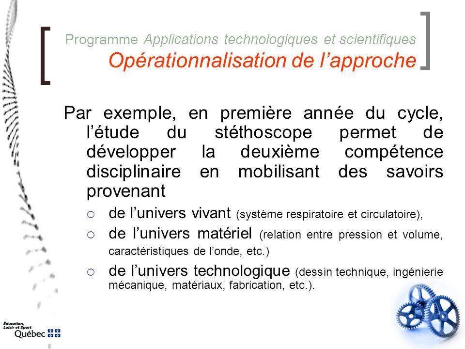 Programme Applications technologiques et scientifiques Opérationnalisation de l'approche Par exemple, en première année du cycle, l'étude du stéthosco
