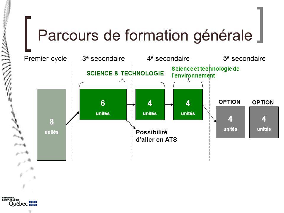 Parcours de formation générale Premier cycle3 e secondaire4 e secondaire5 e secondaire SCIENCE & TECHNOLOGIE Science et technologie de l'environnement