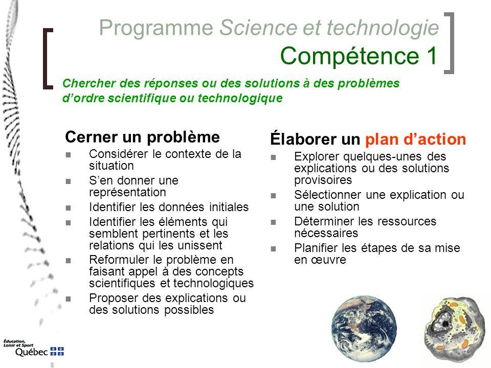 Programme Science et technologie Compétence 1 Cerner un problème Considérer le contexte de la situation S'en donner une représentation Identifier les