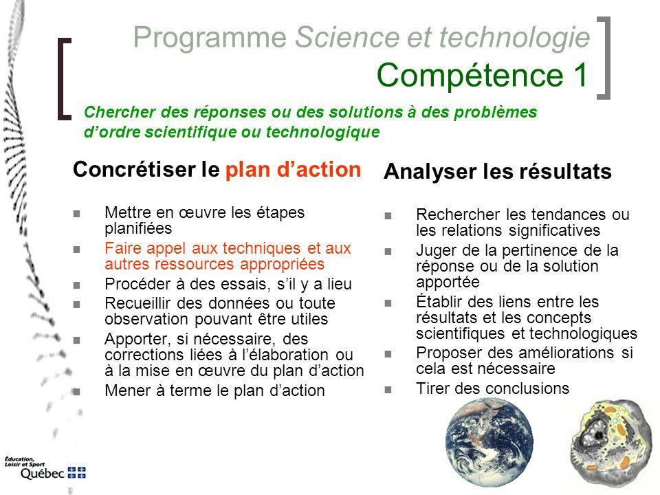 Programme Science et technologie Compétence 1 Concrétiser le plan d'action Mettre en œuvre les étapes planifiées Faire appel aux techniques et aux aut