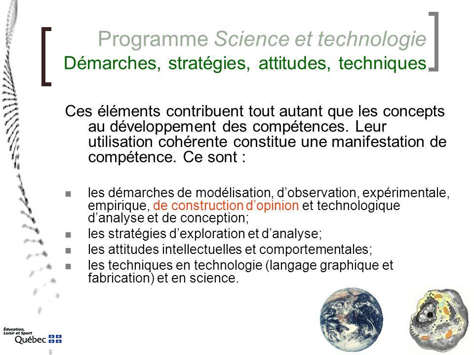 Programme Science et technologie Démarches, stratégies, attitudes, techniques Ces éléments contribuent tout autant que les concepts au développement d