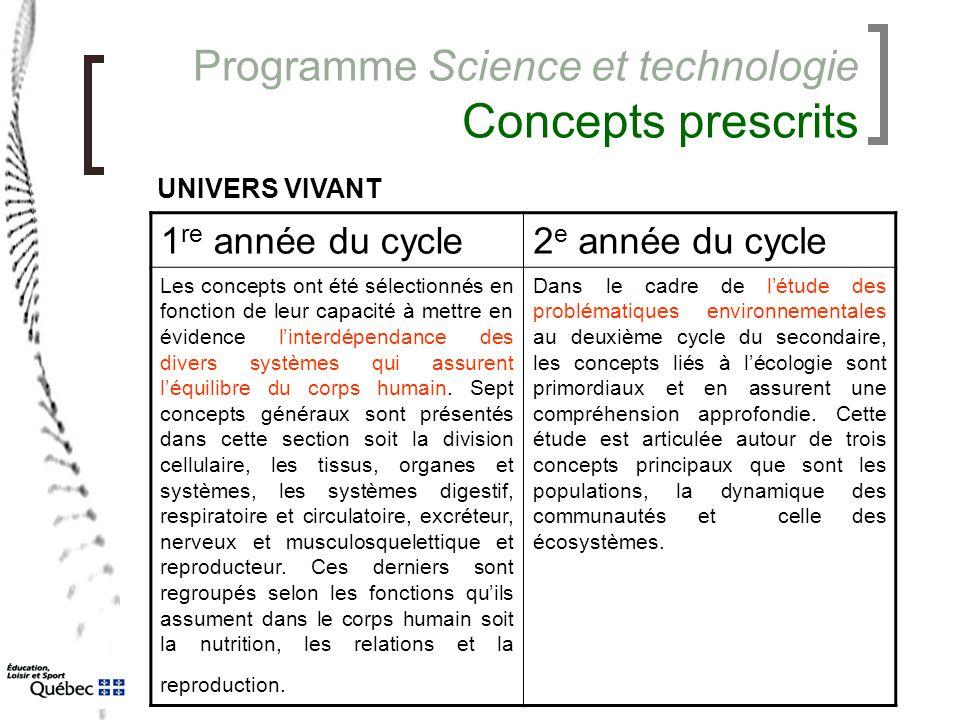 Programme Science et technologie Concepts prescrits 1 re année du cycle2 e année du cycle Les concepts ont été sélectionnés en fonction de leur capaci