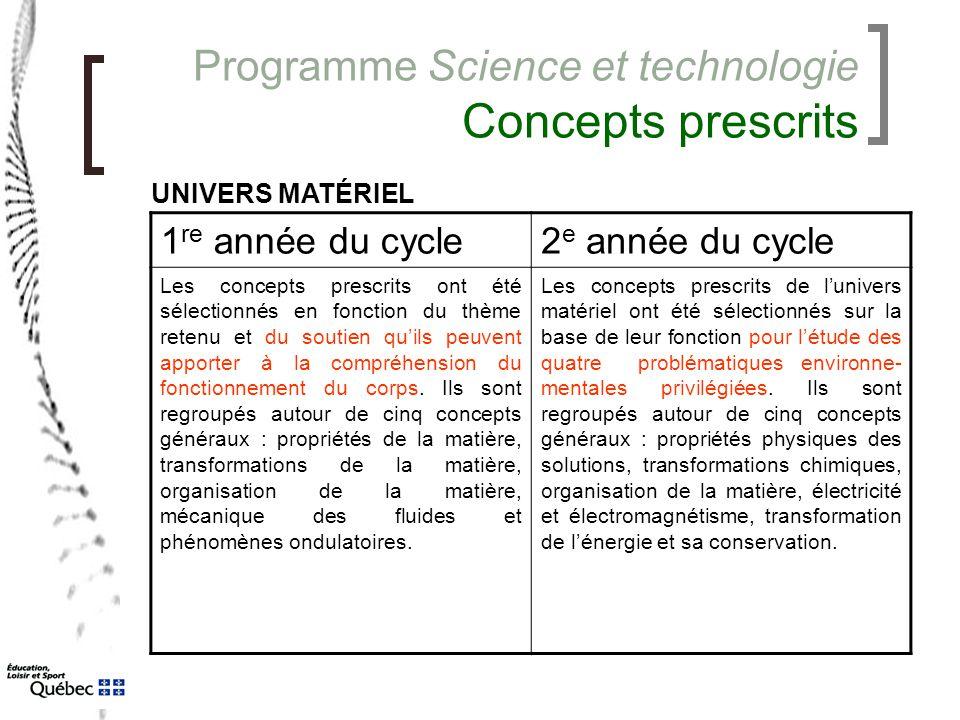 Programme Science et technologie Concepts prescrits 1 re année du cycle2 e année du cycle Les concepts prescrits ont été sélectionnés en fonction du t