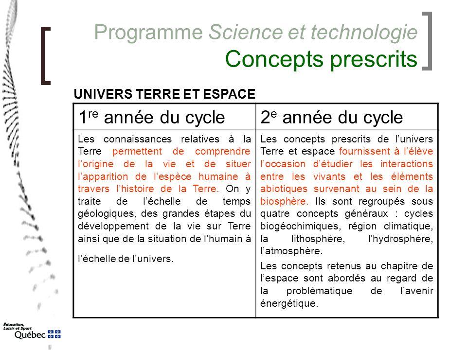 Programme Science et technologie Concepts prescrits 1 re année du cycle2 e année du cycle Les connaissances relatives à la Terre permettent de compren
