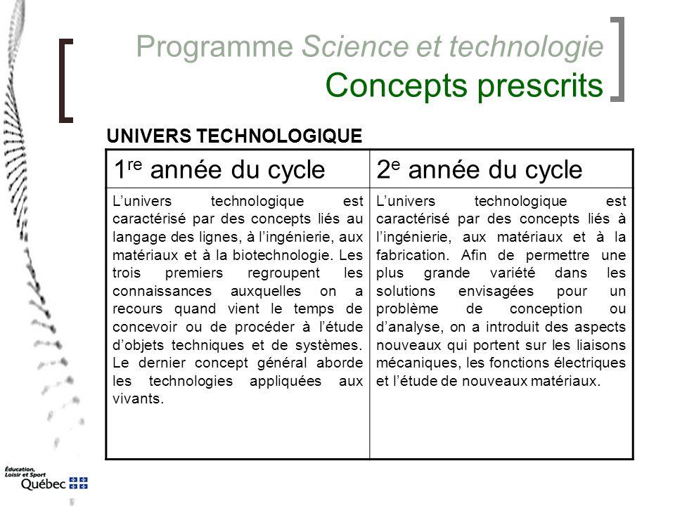 Programme Science et technologie Concepts prescrits 1 re année du cycle2 e année du cycle L'univers technologique est caractérisé par des concepts lié