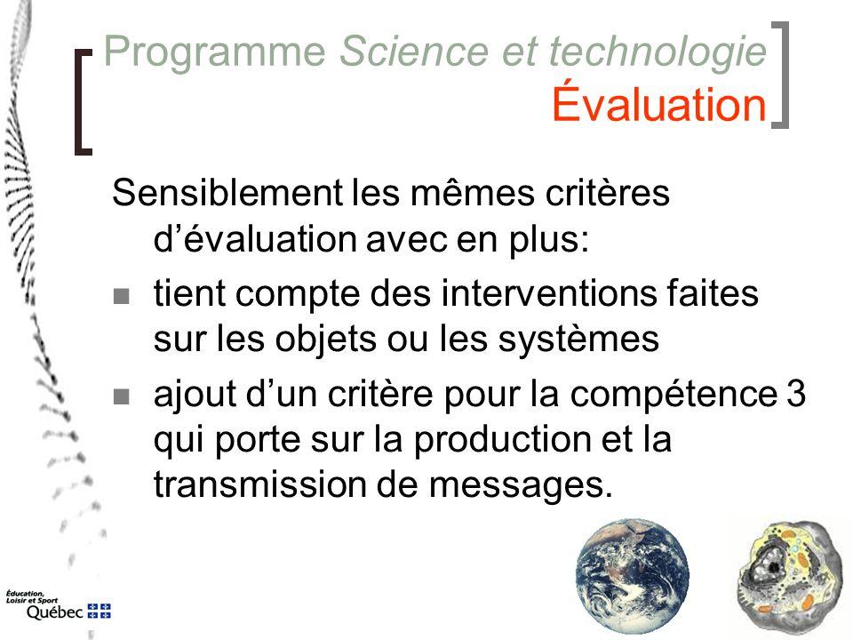 Programme Science et technologie Évaluation Sensiblement les mêmes critères d'évaluation avec en plus: tient compte des interventions faites sur les o