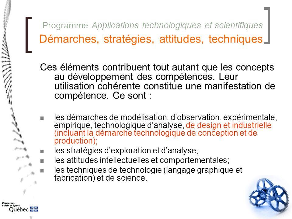 Programme Applications technologiques et scientifiques Démarches, stratégies, attitudes, techniques Ces éléments contribuent tout autant que les conce