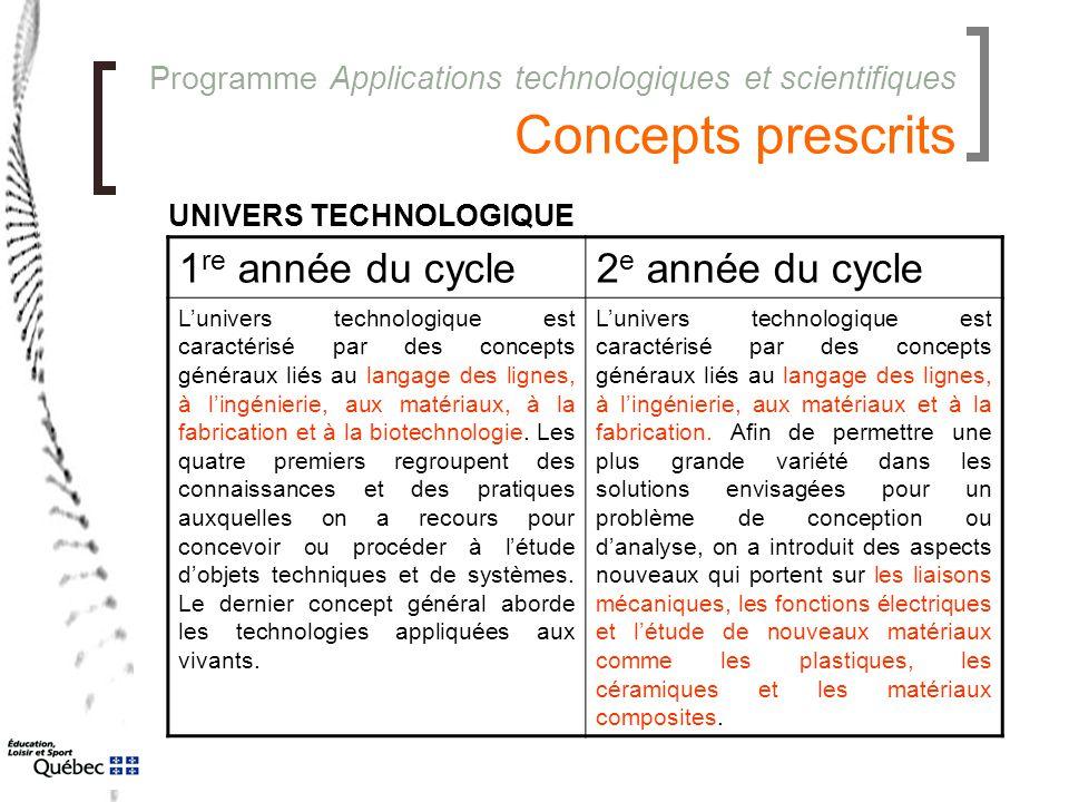 Programme Applications technologiques et scientifiques Concepts prescrits 1 re année du cycle2 e année du cycle L'univers technologique est caractéris