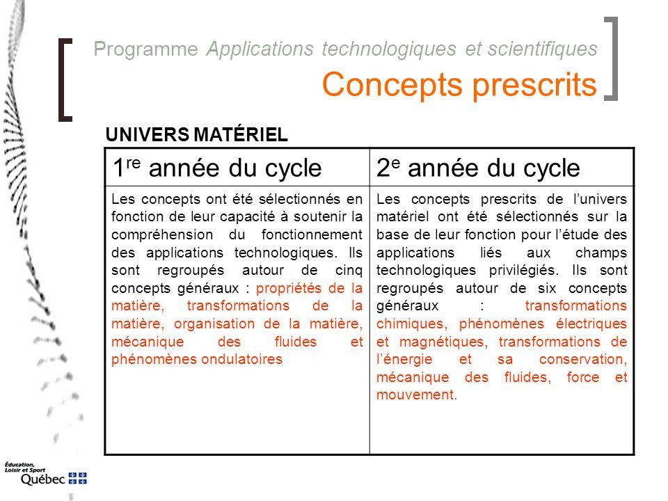 Programme Applications technologiques et scientifiques Concepts prescrits 1 re année du cycle2 e année du cycle Les concepts ont été sélectionnés en f