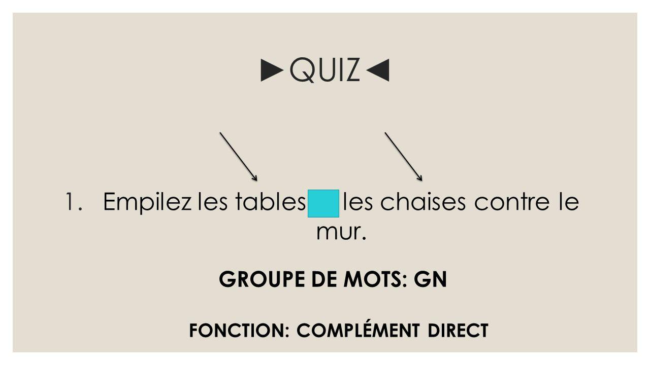 ►QUIZ◄ 1.Empilez les tables et les chaises contre le mur. FONCTION: COMPLÉMENT DIRECT GROUPE DE MOTS: GN