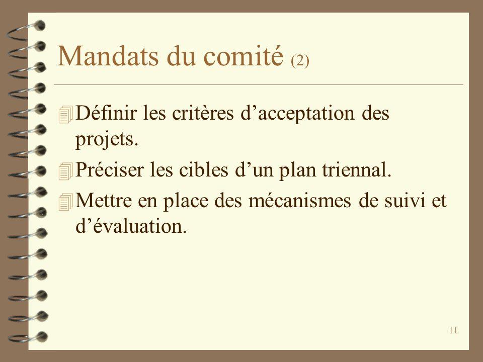 11 Mandats du comité (2) 4 Définir les critères d'acceptation des projets. 4 Préciser les cibles d'un plan triennal. 4 Mettre en place des mécanismes